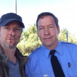 D.B. Sweeney and Christopher Rob Bowen on set of Heist (Bus 657), starring Robert De Niro.