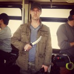 Christopher Rob Bowen on set with a big ass knife for Heist (Bus 657).