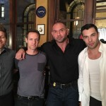On set of Marauders, Christopher Rob Bowen with Dave Bautista, Richie Chance, and Jesse Pruett