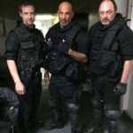 Christopher Rob Bowen, David Dayan Fisher and Ron Bottitta on the set of the movie Evolver.