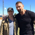 Dave Bautista and Christopher Rob Bowen on set of Heist (Bus 657), starring Robert De Niro.