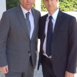 Christopher Rob Bowen and D.B. Sweeney on set of Extraction starring Bruce Willis.