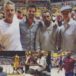 Marauders cast Christopher Rob Bowen, Tyler Olsen and Danny Abeckaser sitting court side at a Cavalier basketball game with Lebron James.